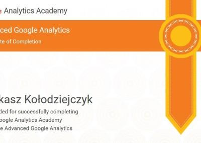 Advanced Google Analytics - certyfikat