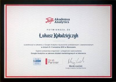 Akademia Analytics - certyfikat