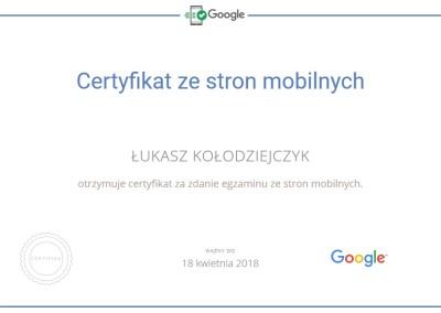 Certyfikat Google ze stron mobilnych
