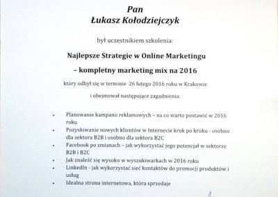 """Certyfikat ukończenia szkolenia """"Najlepsze Strategie w Online Marketingu"""""""