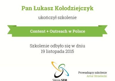 Certyfikat - szkolenie content i outreach