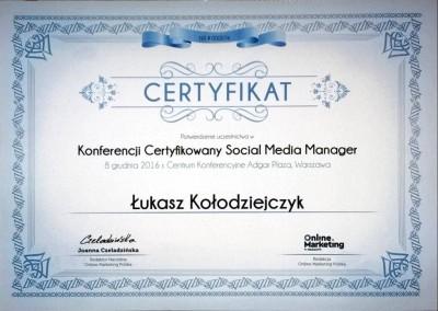 Certyfikowany Social Media Manager - certyfikat