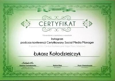 Certyfikowany Social Media Manager - warsztaty Instagram - certyfikat