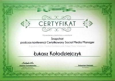 Certyfikowany Social Media Manager - warsztaty Snapchat - certyfikat