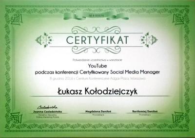 Certyfikowany Social Media Manager - warsztaty YouTube - certyfikat