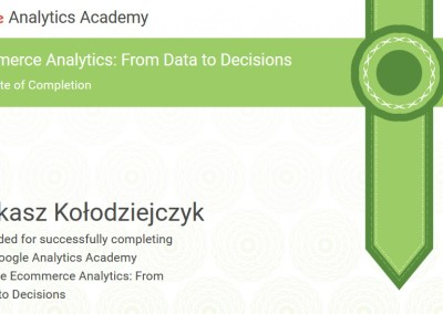 Ecommerce Analytics: From Data to Decisions - certyfikat