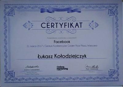 Facebook – warsztaty - certyfikat