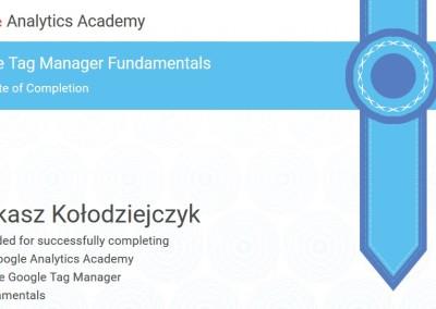 Google Tag Manager Fundamentals - certyfikat
