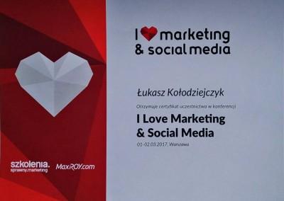 I Love Marketing & Social Media - marzec 2017 - certyfikat