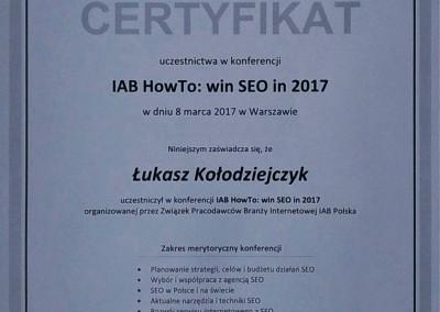 IAB HowTo: win SEO in 2017 - certyfikat