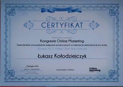 Kongres Online Marketing - marzec 2017 - certyfikat