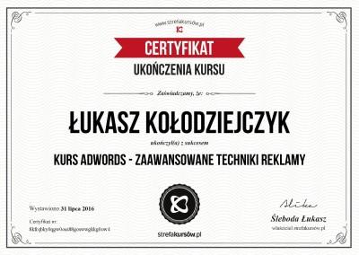"""Certyfikat ukończenia kursu """"AdWords – Zaawansowane techniki reklamy"""""""