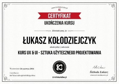 "Certyfikat ukończenia ""Kursu UX & UI - sztuka użytecznego projektowania"""