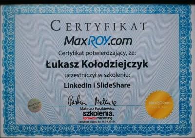 LinkedIn i SlideShare – szkolenie - certyfikat