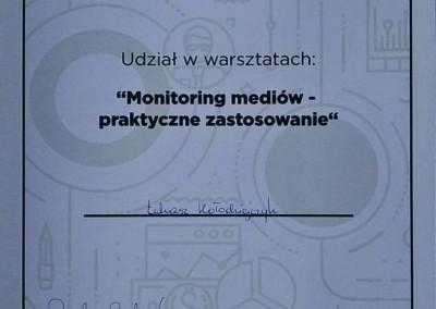 Monitoring mediów – praktyczne zastosowanie – warsztaty - certyfikat