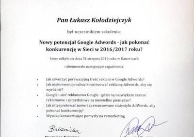 """Kurs """"Nowy potencjał Google AdWords"""" - certyfikat"""