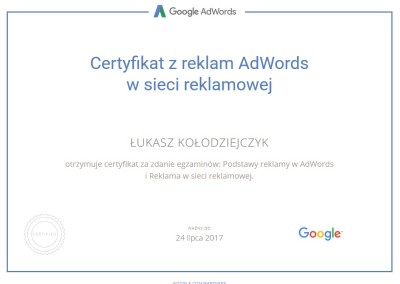 Certyfikat z reklam AdWords w sieci reklamowej