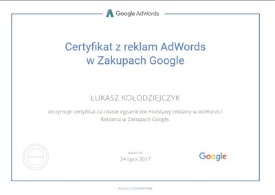 Certyfikat z reklam AdWords w Zakupach Google