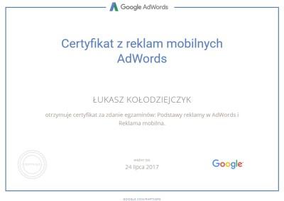 Certyfikat z reklam mobilnych AdWords