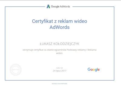 Certyfikat z reklam wideo AdWords