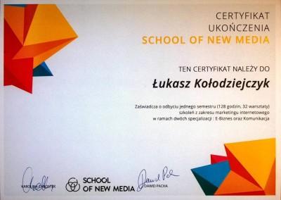 Certyfikat ukończenia School of New Media