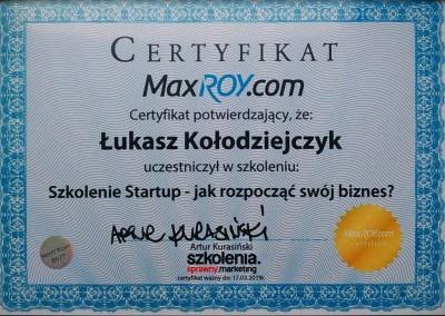 Szkolenie Startup – jak rozpocząć swój biznes? - certyfikat