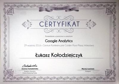 "Warsztaty ""Google Analytics"" - certyfikat"