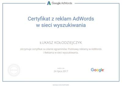 Certyfikat z reklam AdWords w sieci wyszukiwania